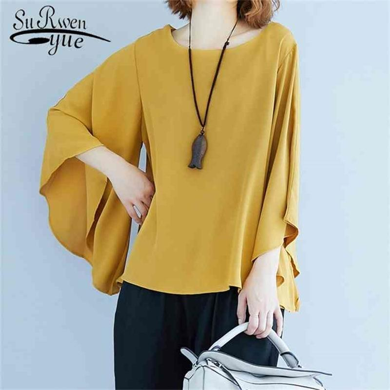 Fashion Solid Women Blouses Cotton Woman Shirt Simple Korean Top Female Irregular Flare Sleeves Loose Office Lady Clothes 9426 210415
