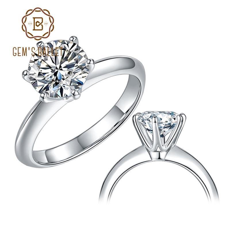 Gem's Ballet 925 Sterling Silver Ring 1CT 2CT 3CT Rodada Diamante Solitaire Anéis de Noivado para Mulheres 210610
