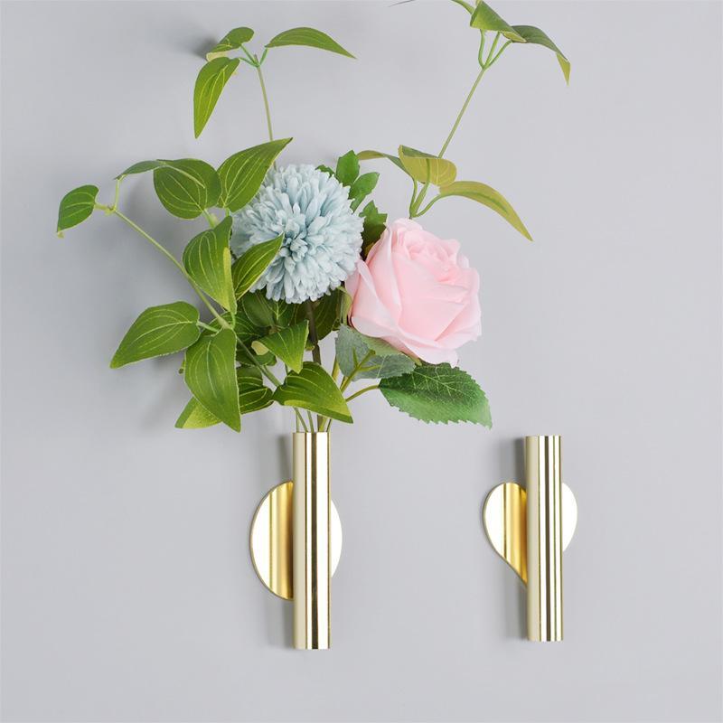 Parede Pendurado Vaso Estilo Nórdico Da Parede Dourada Sala de Estar Entrada Da Parede Blossom Vaso Perfuração Diy Flower Home Decorações