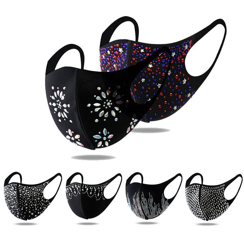 Máscara Máscara Bling Diamante Lavável Reusável Care Shield Lantejoulas Designer Face Party Masks Brilhante