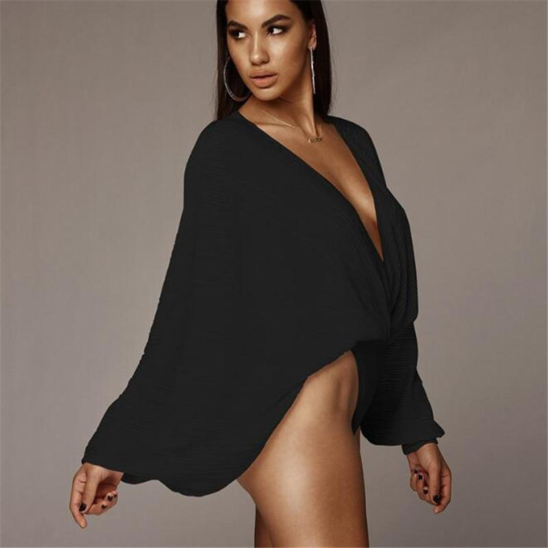 Women Rompers Jumpsuits V Neck Pleated Loose Romper Bodysuits Shirts Tops Women Long Sleeve