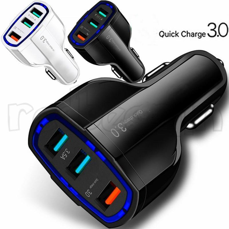 3 USB 포트 자동차 충전기 빠른 충전 QC3.0 35W 7A 자동차 충전기 어댑터 아이폰 7 8 x XR 삼성 HTC 안드로이드 전화 GPS MP3 소매 상자