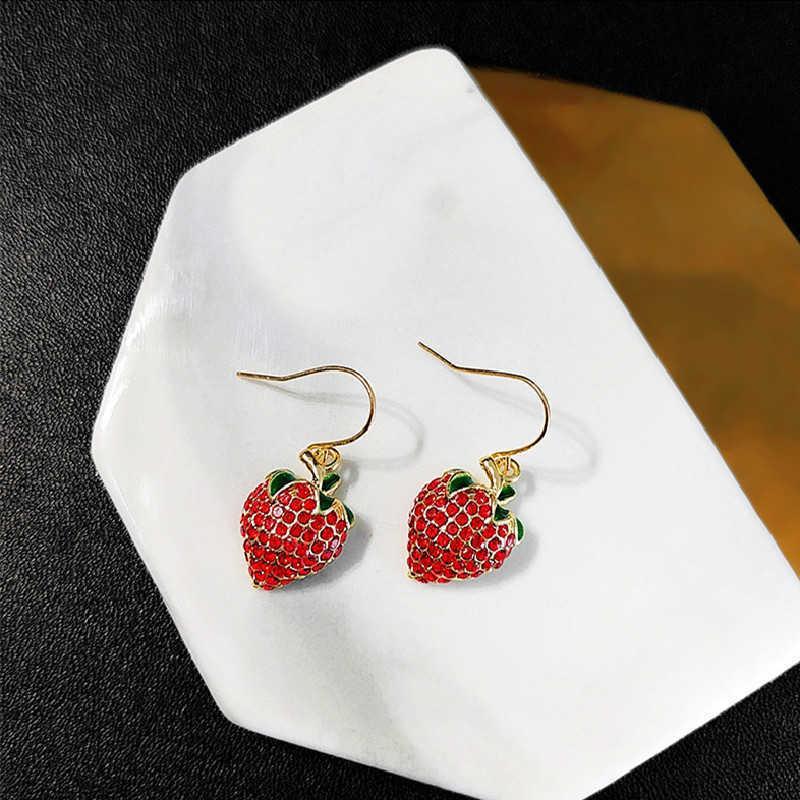 Origem verão doce engraçado engraçado fruto vermelho gancho brinco para mulheres meninas festa bling strass dongle brinco jóias y0709