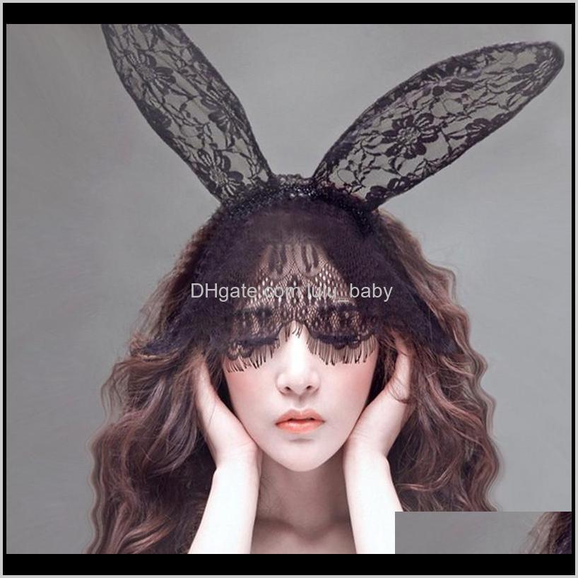 1 unid mujer encaje orejas velo bandas chicas sexy negro máscara hollywood party trajes banda 0zeyz b4wfm