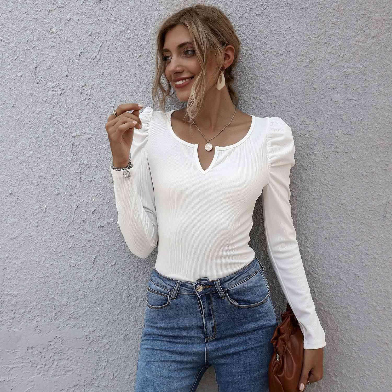 Herbst 2021 BEST VERKAUFEN SLIM V-Ausschnitt Feste Farbe Vielseitige Pullover Langarm Frauen tragen