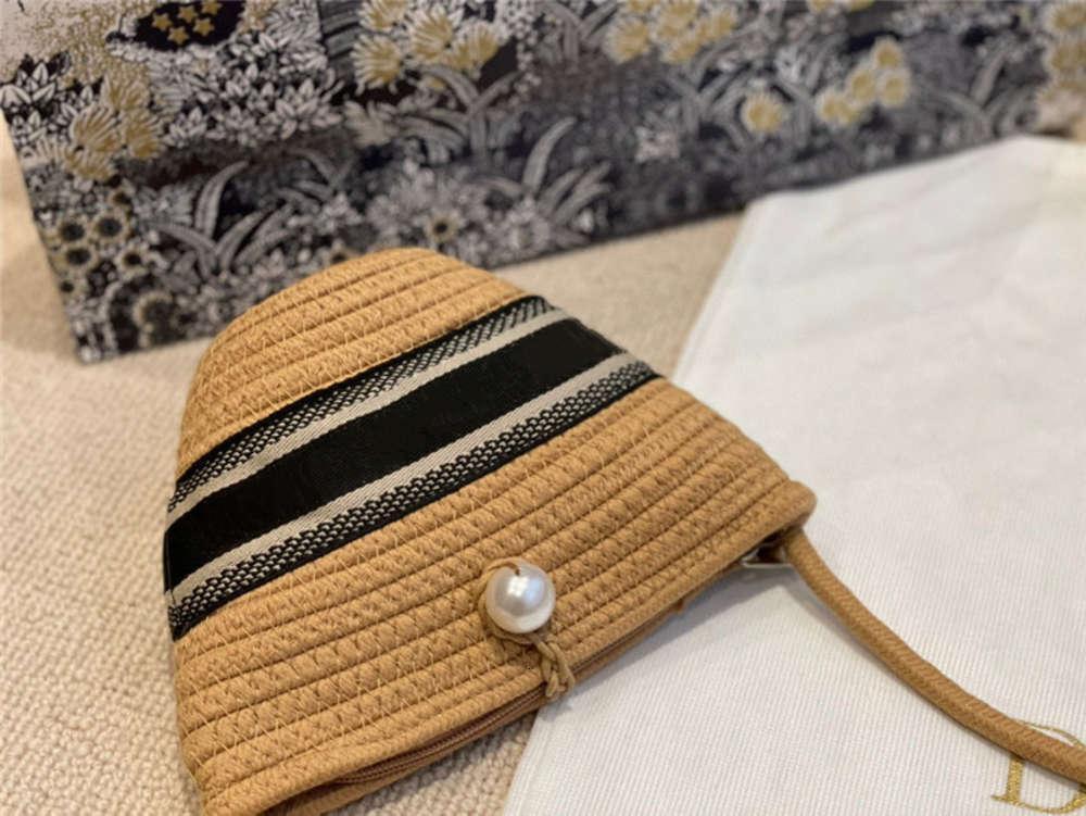 Retro İnciler Toka Kadın Çantası Klasikleri Örme Saman Sebze Sepeti Şerit Kova Çanta Çantalar Bayanlar V