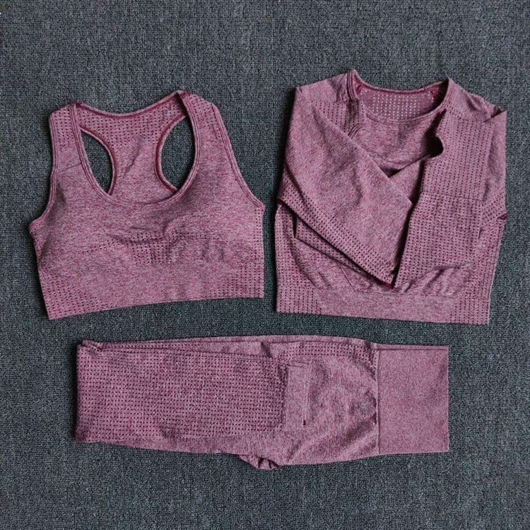 Mujeres sin fisuras conjunto de yoga de fitness entrenamiento Pantalones Pantalones Leggings + Camisas recortadas Sujetador Sport Traje Mujer Manga Larga Traje activo Desgaste