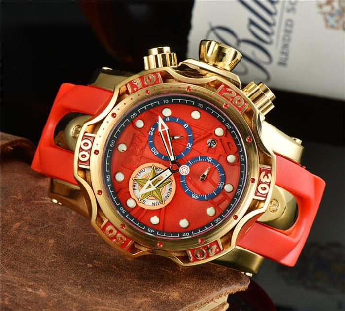 최고 품질 남성 큰 다이얼 레드 시계 몽트르 옴므 실리콘 석영 시계 남자 패션 방수 스포츠 럭셔리 남자 손목 시계 Reloj Hombre