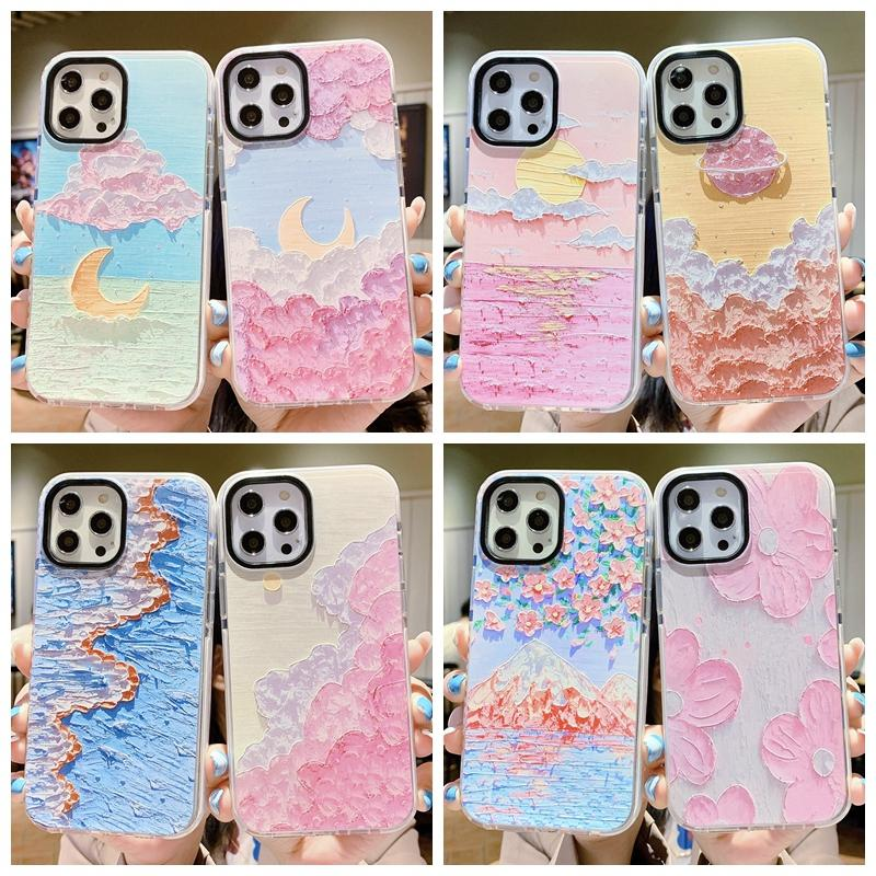 Schöne Henna Blume Ölgemälde Stil Hüllen für iPhone 12 PRO MAX 11 XR xs x 8 7 Plus Weiche TPU Bunte Farbe Farbe Tinte Aquarell Mode Handy Cover Coque
