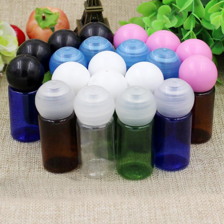 10/50 / 100 pcs 10ml redondo azul vazio / verde / Âmbar garrafa de plástico com capa de bola cosméticos mini experimentação de amostras recipientes recipientes de armazenamento de contêiner