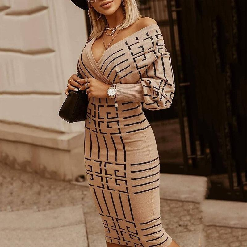Autumn And Winter Explosion Women Striped Dresses Long Vneck Sleeve High Waist Woman For Undefined Bodycon Casual Dress