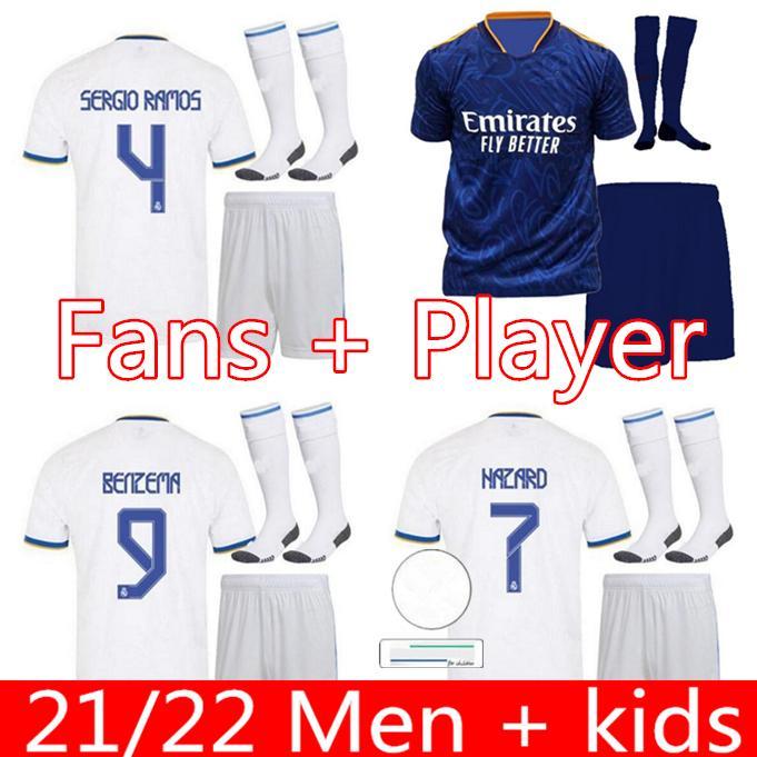 레알 마드리드 유니폼 21 22 Mens Kids Kit 축구 축구 셔츠 위험 Sergio Ramos Benzema Asensio Camiseta 2021 2022 네 번째 팬 선수 버전