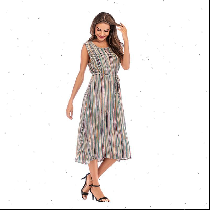 Loose Midi Chiffon Dresses Womens Dress With Belt Plus Size Long Beach Summer Holiday Clothes for Women Robes Vestidos Sleeveless