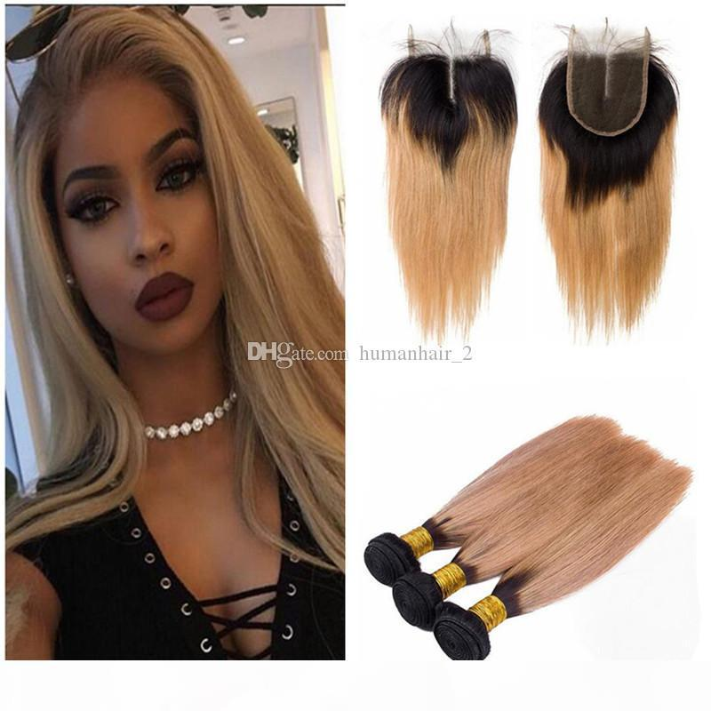 Strawberry Blonde Ombre Hair With Lace Closure Silk Straight Two Tone Dark Root 27 Blonde Hair With 4X4 Lace Closure