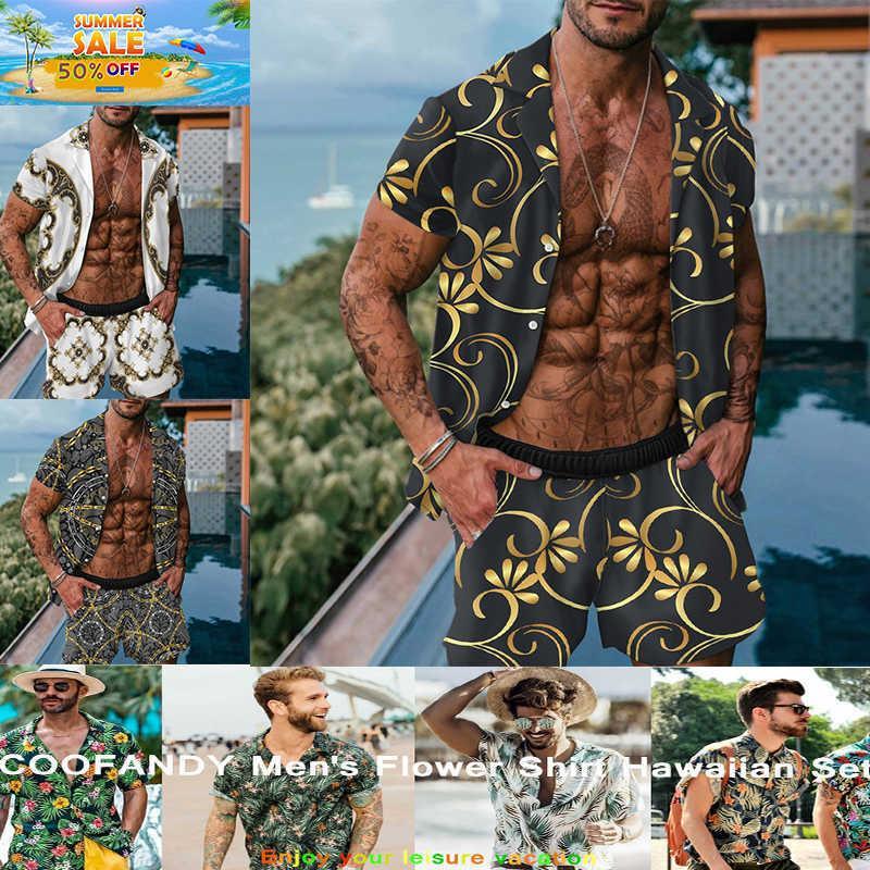 Erkekler Hawaiian Baskı Gömlek Setleri 2021 Yaz Kısa Kollu Düğme Gömlek Plaj Şort Streetwear Rahat Erkek Takım Elbise İki Adet X0702