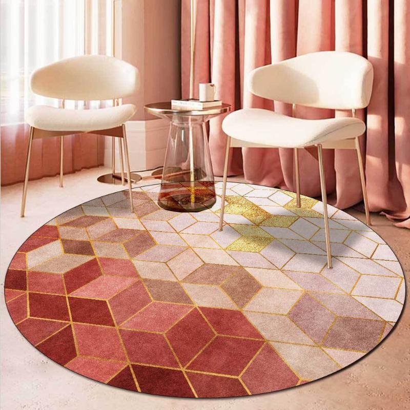 Légère luxe ronde ronde tapis gradient rose rose salon géométrique de tapis de chambre à coucher de chevet enfants jouent tente tapis de tapis de sol antidérapant