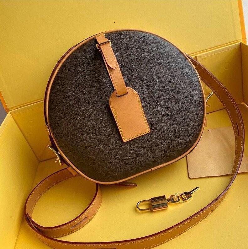 Venta caliente Petite Boite Chapeau BOITE MM Handbag Pure Cowhide Trim Canvas HatBox Designer Bolsos de hombro Crossbody Messenger Sobre Bolsa