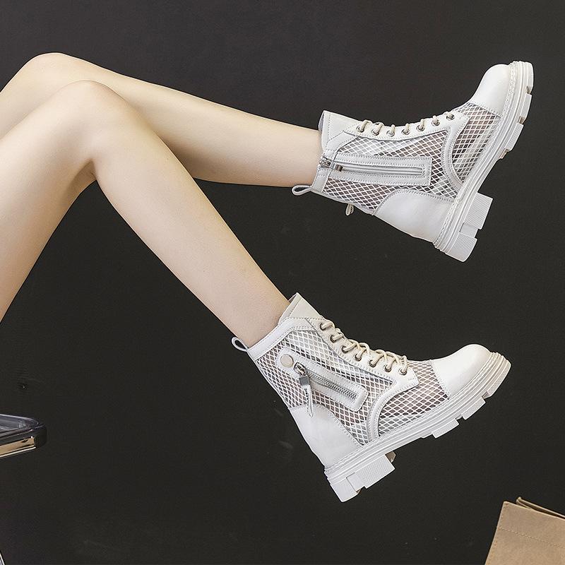 2021 без коробки Женская сетка Martin Boots Толстые сосланные внутренние усилия для женщин мода повседневные боковые молния обувь
