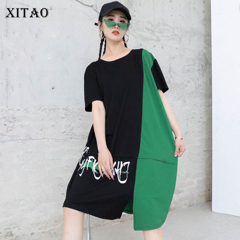 Vestido de patrón de letra Moda Mujeres Patchwork Goddass Fan Estilo casual Hit Color Spring Otoño Top ZY6111 210426