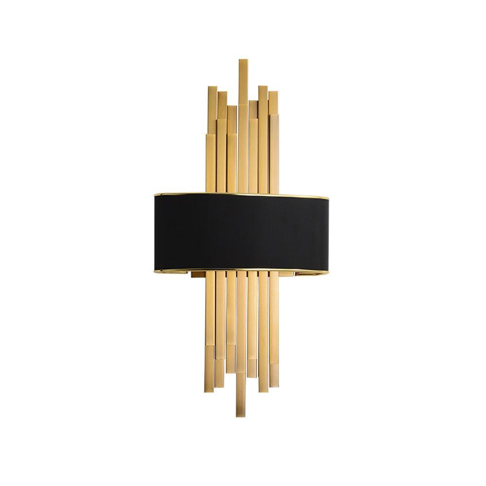 Amerikan kapalı duvar ışık lüks oturma odası yatak odası dekorasyon duvar lambası başucu lambası koridor modeli odası kumaş duvar lambası banyo aynası vanity altın siyah ışıklar
