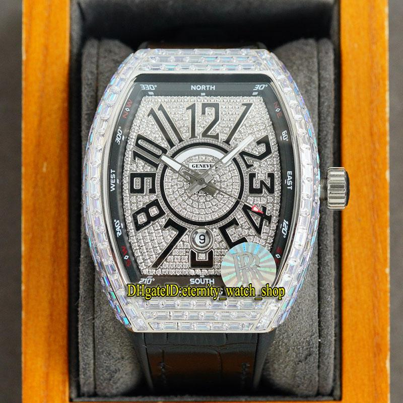 Eternity Jewelry Relógios RRF V2 Versão de Atualização Vanguarda V45 SC DT Japão Miyota 8215 Automático Gelado Fora Mens Relógio Dial Dial T-Diamantes Caso Caixa De Couro