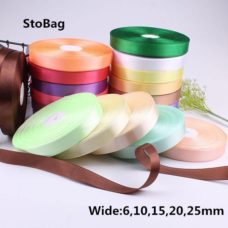 Stobag 50yards Color sólido Cintas de satén Caja de regalo decorativo Caja de embalaje Cinturón de envoltura DIY Artesanía Decoración de fiesta
