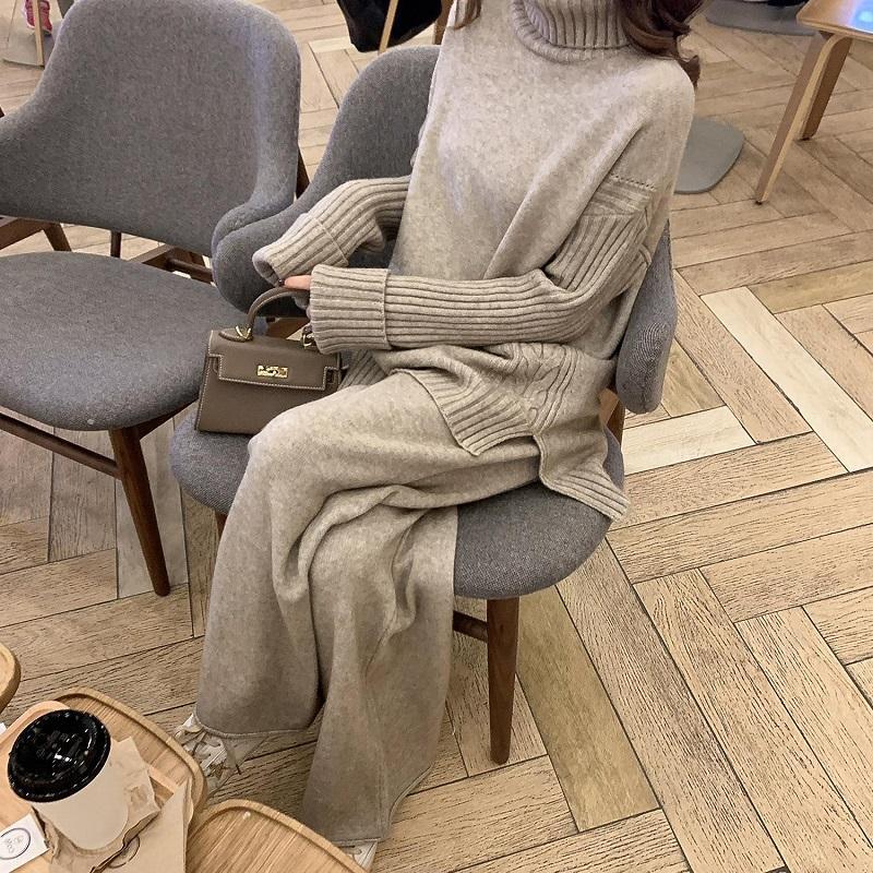 Женские трексуиты осень осень зимние женщины вязаные 2 частей набор элегантные водолазки пуловер свитера Широкие брюки ноги леди свитер трексуи