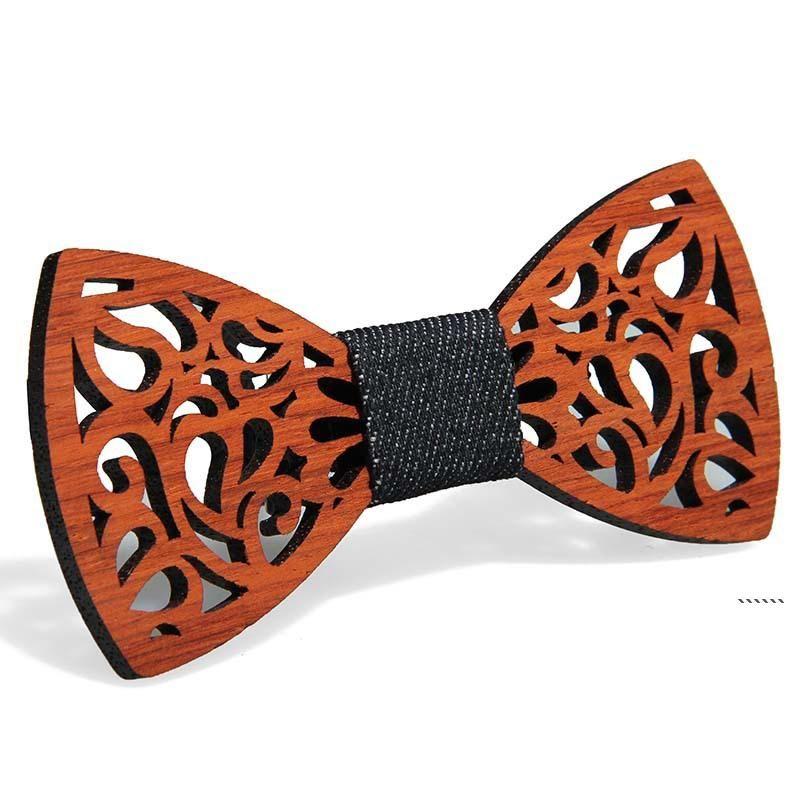 Vintage rotes Rosenholz-Bogen-Krawatten-Handbuch aushöhlen Bowknot für den Gentleman-Hochzeit Holz-Bowtie-Fasion-Zubehör 9 Arten FWA4925