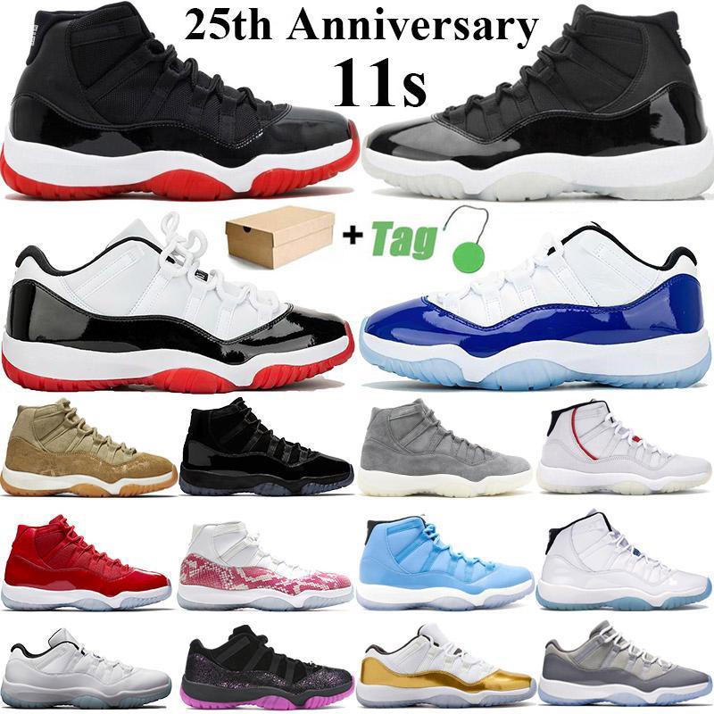 2021 الجديدة عالية OG الأعلى 11 11S Jumpman الرجال لكرة السلة أحذية منخفضة 25 الذكرى كونكورد 45 البيضة ولدت المرأة الرياضية حذاء رياضة حجم 36-47