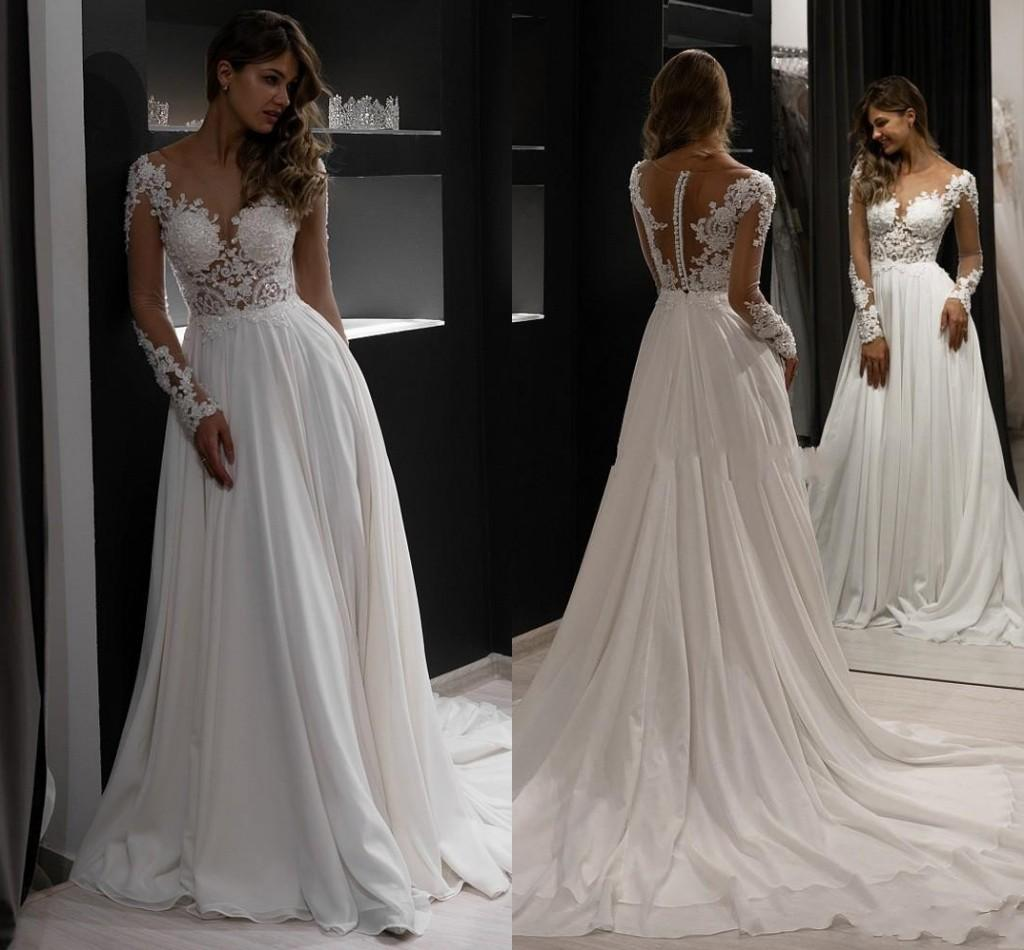 Newest 2021 Illusion Long Sleeve Beach Boho Wedding Gowns Sheer Neck Lace Applique Beaded Chiffon A Line Bridal Dress Buttons Back Vestidos De Novia Summer AL9061