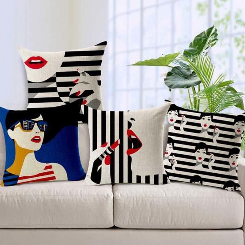 Fábrica venta directa moda mujer cojín cubierta sexy rojo labios almohada caja rayas en blanco y negro 1x19 5sfs