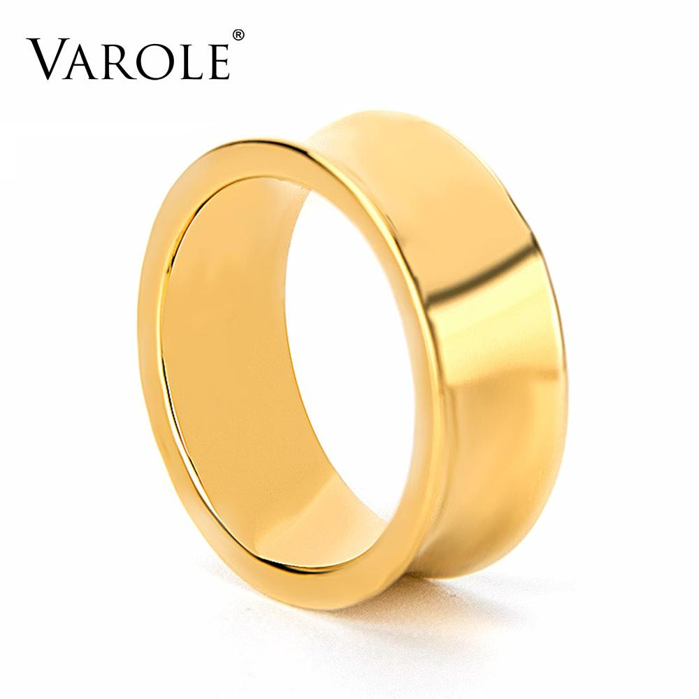 VAROLE Punk Minimalist Concave Ring Gold Color Rings For Women Fashion Jewelry Friend Gifts Party Anillos Gifts
