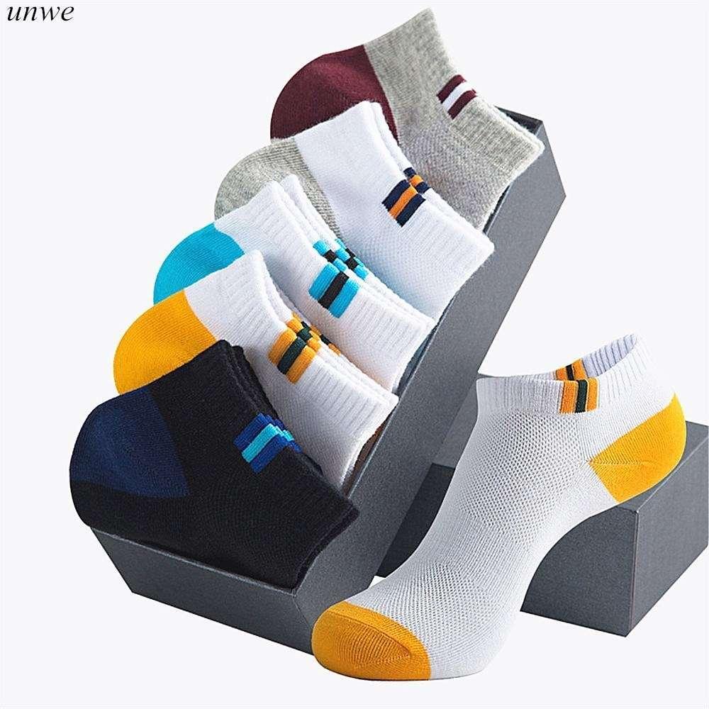 10 Paare / Pack Sommer Herbst Mann Socken Marke Baumwolle Kurzes Socke Atmungsaktive dünne Sportmänner Männer Socke Hausschuhe 201029