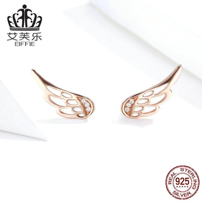 Bamoer Hakiki 925 Ayar Gümüş Tüy Peri Kanatları Saplama Küpe Gümüş Kadınlar için Moda Gümüş Takı Noel SCE343 1080 T2