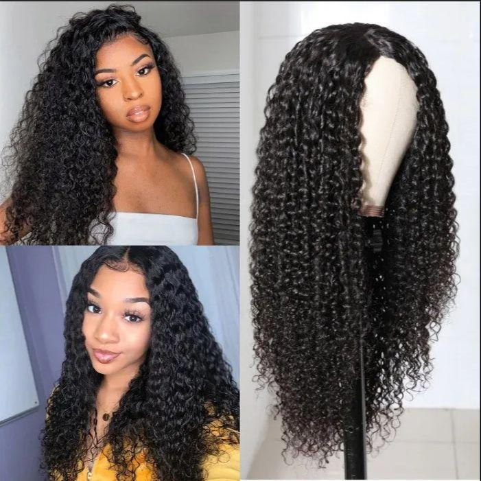 Natural Long Loose Curly Synthetic Hair U Lace Wigs Heat Resistant Glueless Middle Part Black For Women 24inch