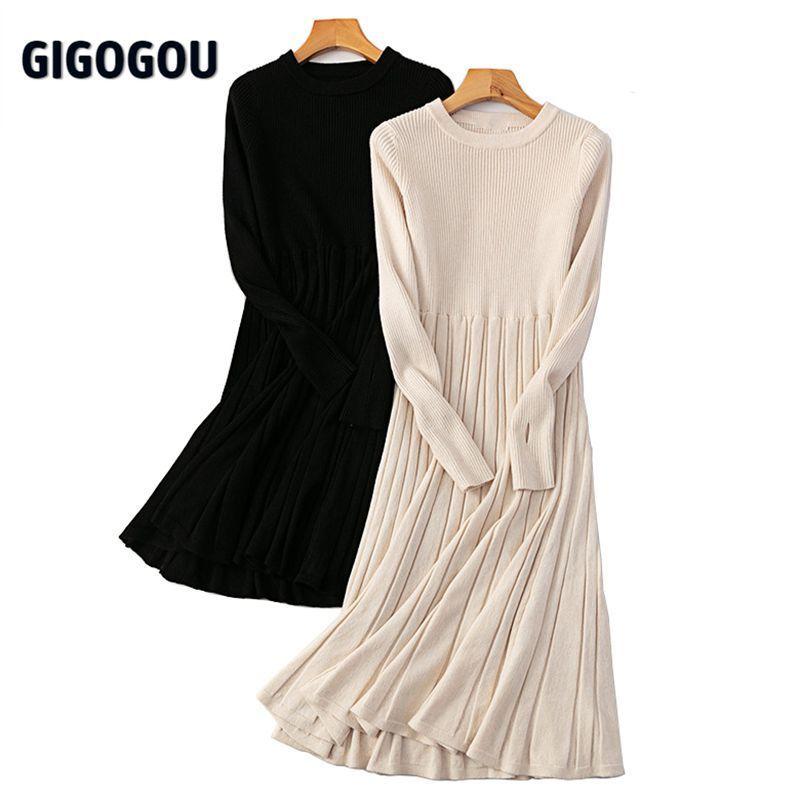 Gigogou Katı Örme Uzun Elbise Kadınlar Sonbahar Kış O Boyun Uzun Kollu Kazak Elbise OL Midi Parti Elbiseler Vestidos Thubm Hole 210427