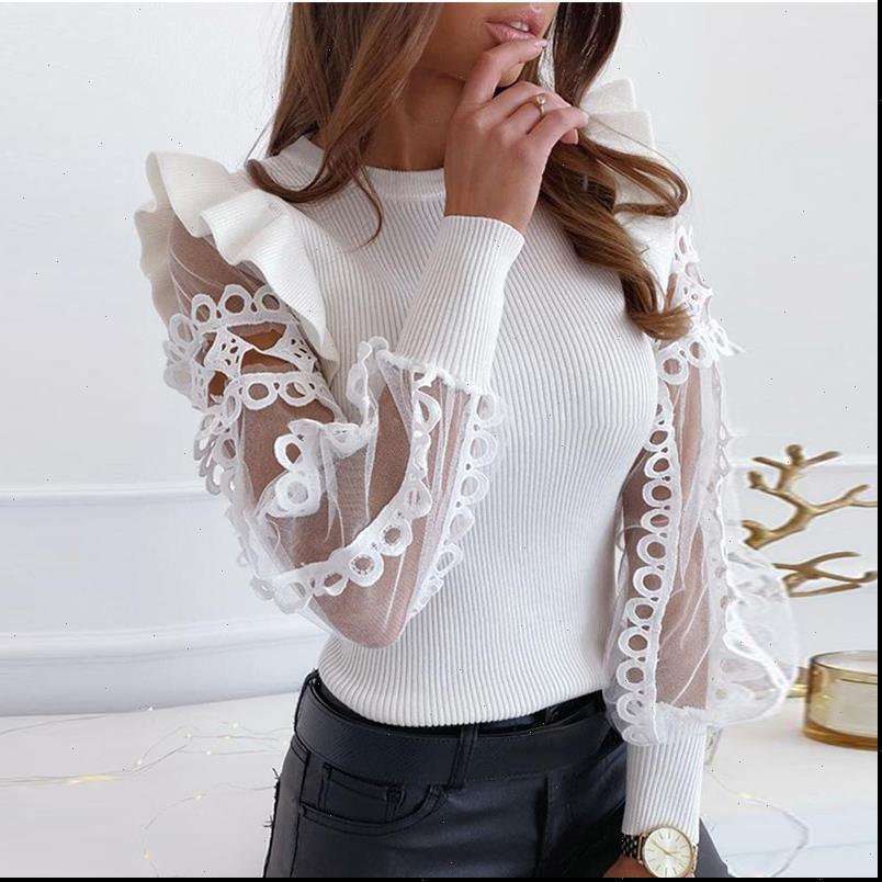 Bayan Gömlek Seksi Yuvarlak Boyun Katı Renk Ruffled Örgü Kollu Oymak Uzun Kadınlar Bluz Tops ve Gömlek Through