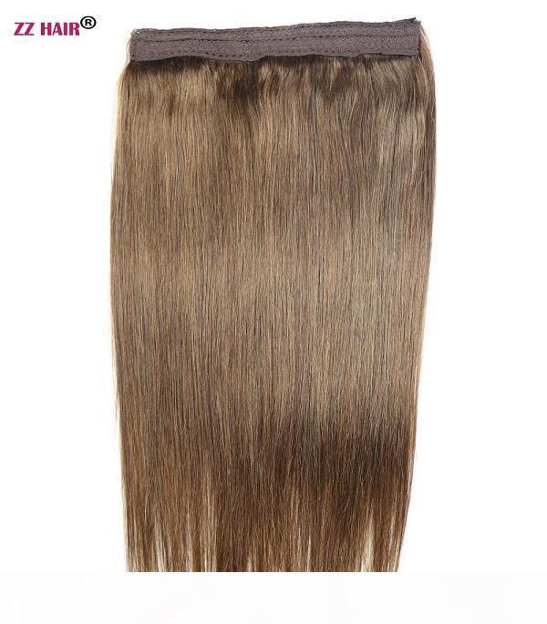 "16 ""-22"" 100% Brezilyalı Remy İnsan Saç 70g Balık Şarap Halo Saç Insan Saç Uzatma 1 Adet Set Klip Olmayan Doğal Straigh"