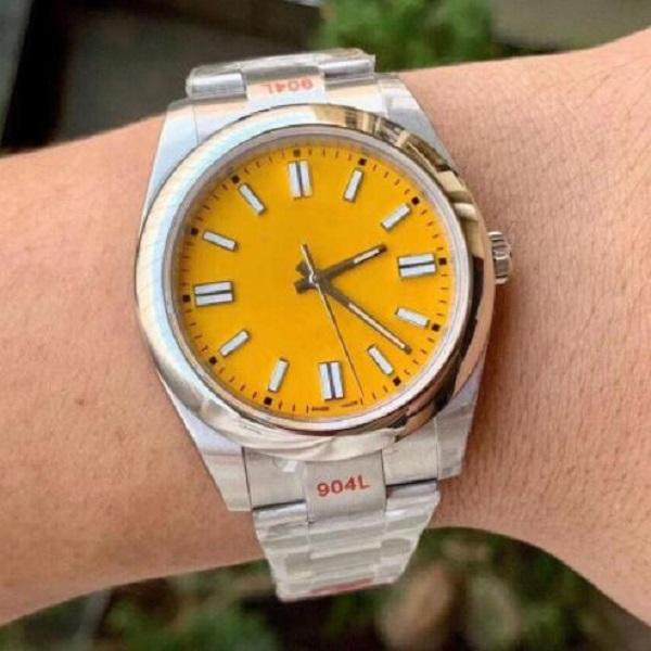 41mm 사파이어 크리스탈 패션 시계 핑크 망 디자이너 여성 레이디 마스터 남자 자동 기계 운동 시계 다이아몬드 손목 시계