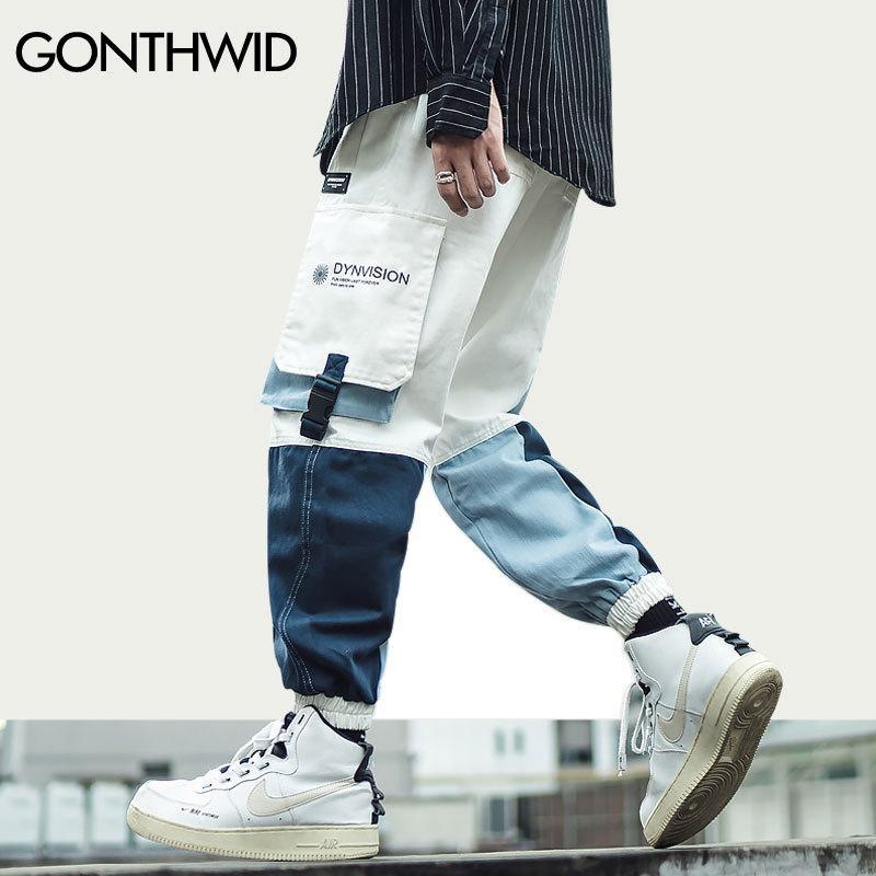 Pantalón con hebilla lateral del lado de la hebilla del lado de carga Harem Joggers Streetwear Mens Harajuku Hip Hop Hipster Casual Sweetpants