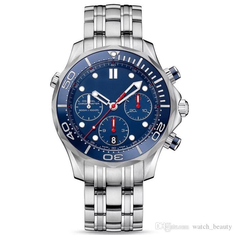 저렴 한 러닝 스톱워치 망 시계 럭셔리 쿼츠 캘린더 손목 시계 스테인레스 스틸 패션 비즈니스 남자 시계 도매