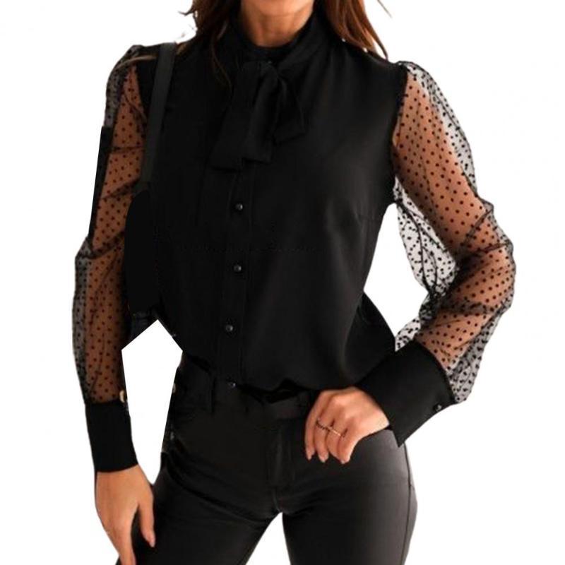 Streetwear Women's T-Shirt Dot Print Mesh Long Sleeve Buttons Bowknot Shirt Blouse Top Office Lady Tops Women See Through