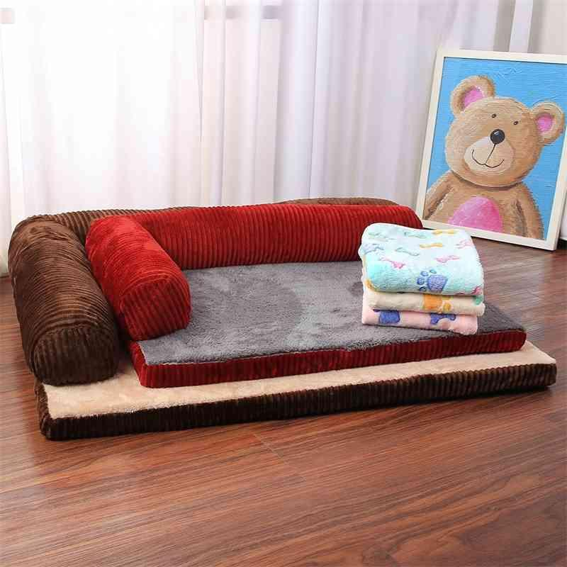 سرير كلب ناعم كلب القط سرير الكلب مع وسادة غريظة رغوة جرو كلب منزل وسادة حصيرة l على شكل أريكة الأريكة للكلاب الصغيرة الكبيرة 210401
