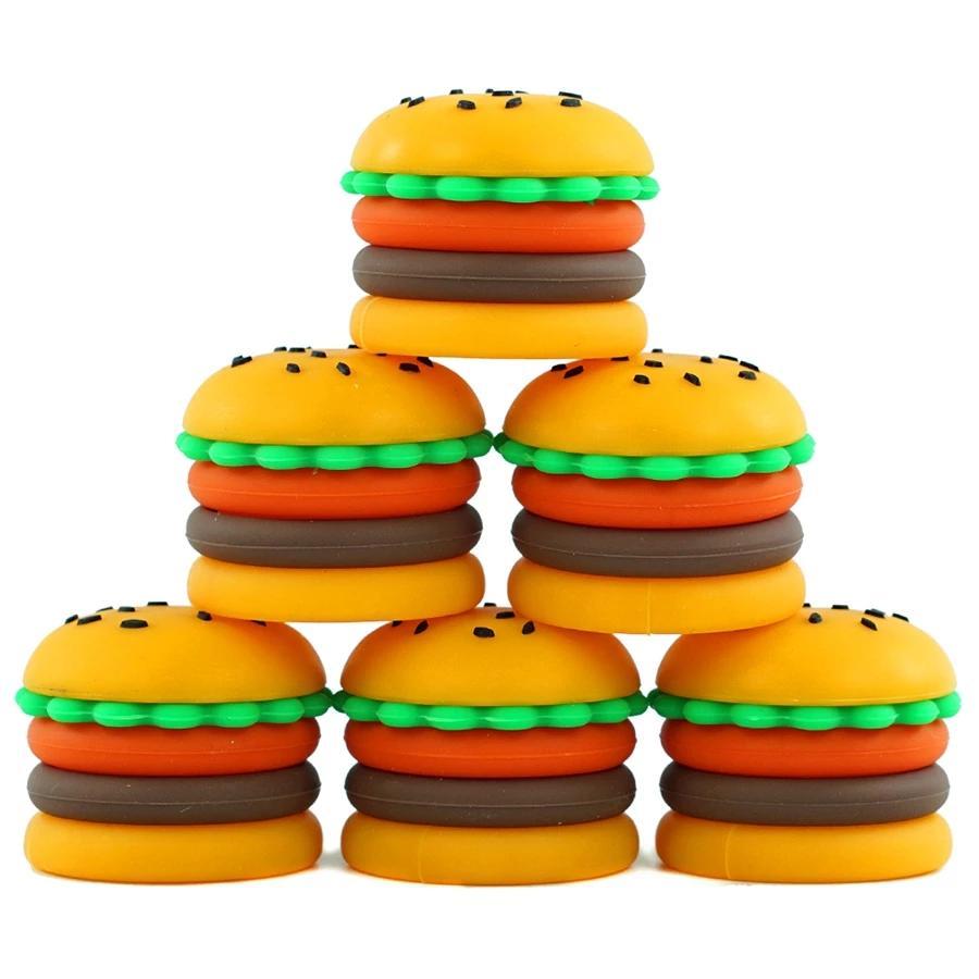 Безстрекивые восковые контейнеры гамбургер в форме силиконовые коробки 5 мл силиконовые контейнерные банки пищевые банки DAB инструмент хранения ДЛЯ ДЛЯ ДЕРЖАТНОГО ОСОБЕННОСТИ BHO