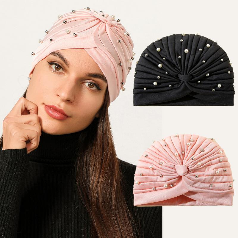 Elegant Crystal Pearls Turban Cap Ruched Knotted Hat Women Muslim Hijab IslamicHead Scarf Ladies Head Wrap Hair Accessories1