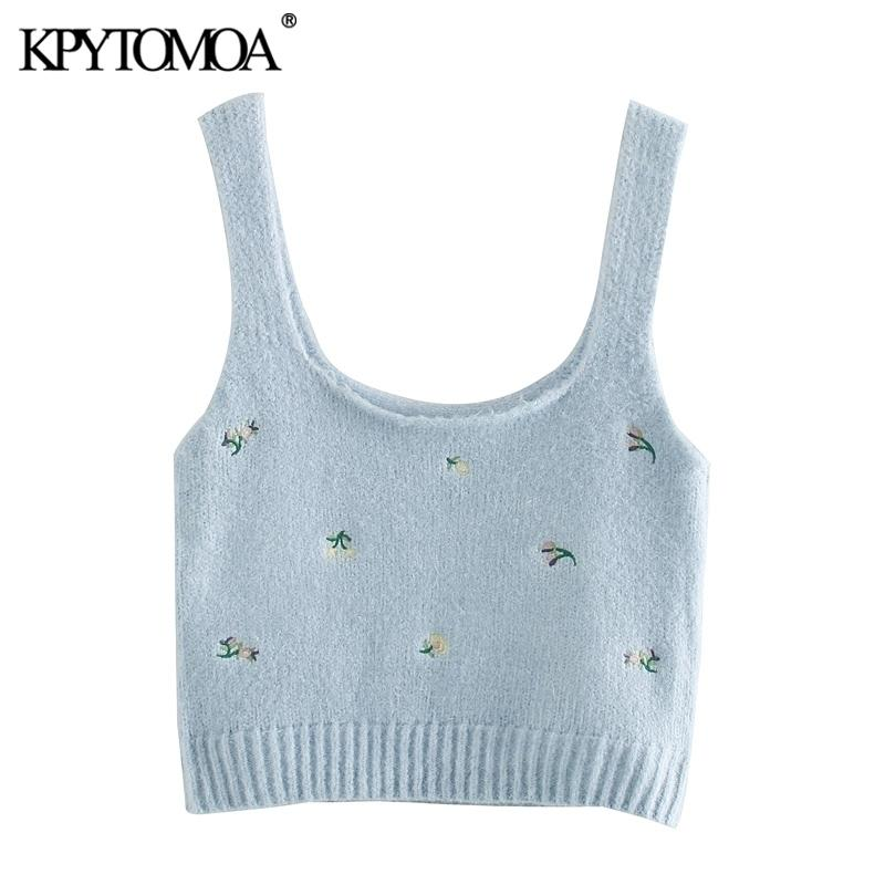 KPYTOMOA Kadın Moda Çiçek Işlemeli Kırpılmış Örme Bluzlar Vintage Kolsuz Askıları Kadın Gömlek Blusas Chic Tops 210402