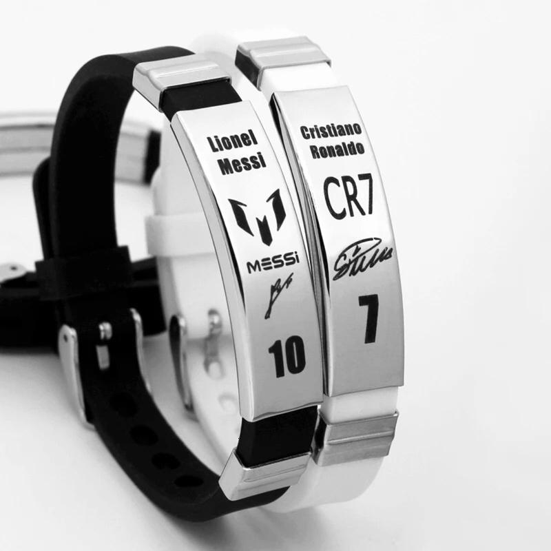 Ronaldo Messi Neymar Bracelet Silicone Wristband Rvs Engraved Signature Id Football Fans Souvenir Poison Bracelets