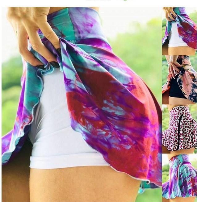 Artı Boyutu kadın Yoga Etek 2 1 Astar Fitness Egzersiz Baskı Etekler Anti-Sürtünme Skort Yaz Tenis ve Badminton Spor Kısa Elbise