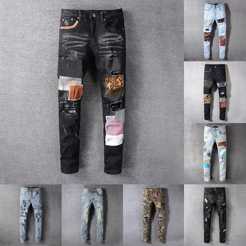21SS Mens Designer Designer Jeans Distressed Strappato Motociclista Slim Denim Dyim per uomo Stampa Army Fashion Mans Skinny Pant