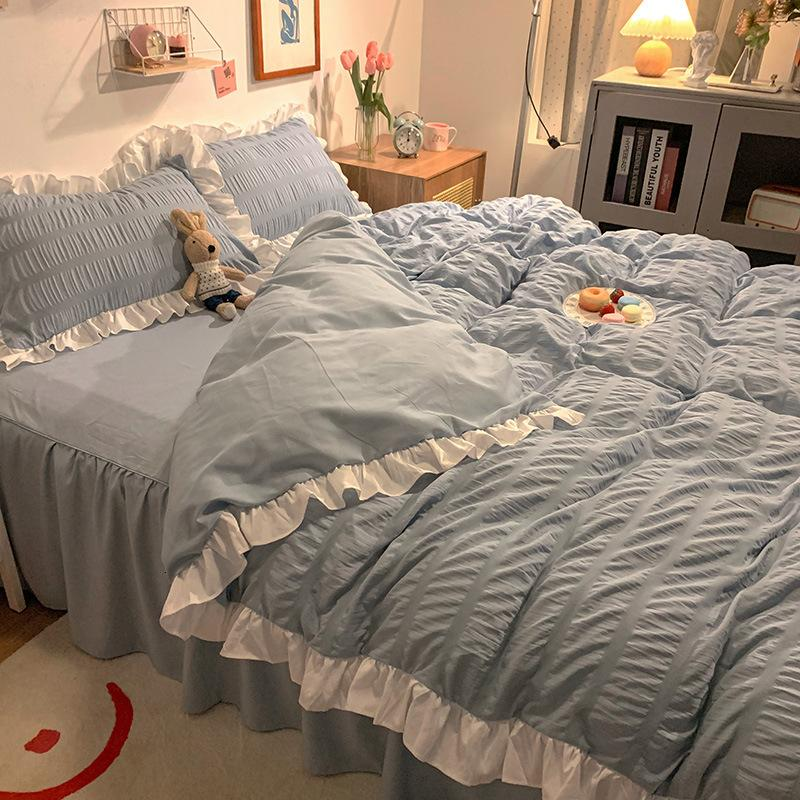 Seersucker Fitted Sheet Spring and Summer Washed Cotton Bed Skirt Bedding 4-piece Set